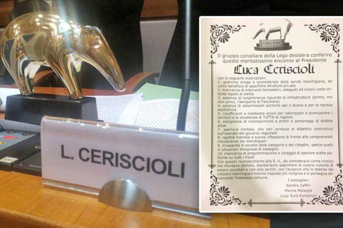 SUPER SCANDALO SANITÀ<br> LA LEGA DONA IL TAPIRO D'ORO<br> AL PRESIDENTE CERISCIOLI<br> INVITANDOLO<br> AD ASSUMERSENE LE CONSEGUENZE